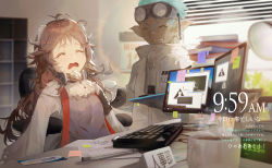 1boy, 1girl, :d, ^ ^, ahoge, animal ears, aqua hair, arknights, bandaid, bandaid on nose, black gloves, blush, book stack, bookmark, brown hair, calendar (object), chair, clock, closed eyes, coat, crying, cup, dark skin, dark skinned male, ear protection, ethan (arknights), eyes closed, eyjafjalla (arknights), frilled shirt collar, frills, gloves, goat ears, goat girl, goat horns, goggles, goggles on head, grin, high collar, highres, holding, holding cup, horns, indoors, keyboard (computer), kuroduki (pieat), long hair, monitor, name tag, office, office chair, open mouth, paper, pen, pointy ears, rhodes island logo, sitting, smile, steam, tears, timestamp, translation request, upper body, white coat