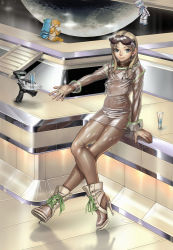 Rule 34 | 1girl, ankle boots, bad id, bad pixiv id, blonde hair, blue eyes, boots, character request, drink, glass, goggles, high heels, latex, lion12, moon, po! (poroporo7), robot, science fiction, see-through, shiny, shiny clothes, shoes, sitting, skin tight, stiletto heels, stilettos