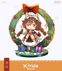1girl, :d, animal ears, bangs, barcode, bell, blush stickers, bow, box, braid, brown dress, brown eyes, brown hair, cat ears, chibi, christmas, christmas wreath, copyright request, dress, eyebrows visible through hair, fur-trimmed dress, fur-trimmed sleeves, fur trim, gift, gift box, grey background, hair between eyes, highres, long hair, long sleeves, looking at viewer, open mouth, pantyhose, red bow, red footwear, rero (bigdoorbig2), shoes, smile, solo, sparkle, standing, standing on one leg, striped, striped legwear, thick eyebrows, twin braids, upper teeth, vertical-striped legwear, vertical stripes, very long hair, wide sleeves