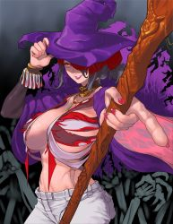 1girl, absurdres, bone, bracelet, breasts, cape, commission, erect nipples, fingernails, grey hair, grin, hair over one eye, hand on headwear, hat, highres, holding, holding staff, huge filesize, jewelry, long hair, multicolored, multicolored hair, nail polish, necklace, necromancer, original, pointing, purple cape, purple headwear, purple lips, red eyes, red hair, red nails, sharp fingernails, skinnytorch, smile, solo, staff, teeth, tied hair, torn, torn cape, torn clothes, undead, witch, witch hat