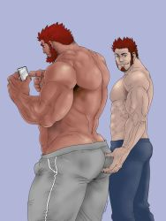 2boys, abs, ass grab, bara, beard, blue eyes, blue pants, brown hair, bulge, couple, dark skin, dark skinned male, facial hair, fate/grand order, fate (series), feet out of frame, goatee, grey pants, holding, holding phone, iskandar (fate), large pectorals, long sideburns, male focus, mature male, multiple boys, muscular, muscular male, napoleon bonaparte (fate), pants, phone, red hair, shirtless, short hair, sideburns, simple background, stomach, teasing, thick thighs, thighs, track pants, tsukasa mat, veins, yaoi