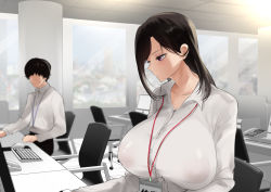 Rule 34 | 1boy, 1girl, black hair, black pants, breasts, chair, collared shirt, commentary request, desk, dress shirt, erect nipples, highres, huge breasts, id card, indoors, keyboard (computer), lanyard, long hair, looking at another, mole, mole under eye, monitor, mouse (computer), office, office chair, office lady, original, pants, purple eyes, ricochet-gou, see-through, shirt, short hair, sitting, white shirt, window