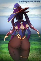 Rule 34   1girl, artist name, ass, backboob, breasts, cape, detached sleeves, elbow gloves, from behind, genshin impact, gloves, hair ornament, hair ribbon, hat, highres, huge ass, leotard, long hair, mona (genshin impact), pantyhose, purple hair, ribbon, shiny, shiny hair, slimybuttcheeks, solo, thighlet, thong leotard, twintails, very long hair