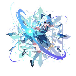 1girl, 38 (sanjuuhachi), :o, black footwear, blue bow, blue dress, blue eyes, blue hair, bow, breasts, bright pupils, cirno, collared shirt, commentary request, dress, eyebrows visible through hair, floating, full body, hair between eyes, hair bow, ice, ice wings, kneehighs, mary janes, open mouth, outstretched arms, pinafore dress, puffy short sleeves, puffy sleeves, red neckwear, red ribbon, ribbon, shirt, shoes, short hair, short sleeves, simple background, small breasts, solo, touhou, v-shaped eyebrows, white background, white legwear, white pupils, white shirt, wings