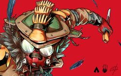1other, ambiguous gender, apex legends, bloodhound (apex legends), cable, feathers, floating, from above, fur, gas mask, helmet, holding, holding knife, knife, looking ahead, mask, pungter, science fiction, solo, upper body