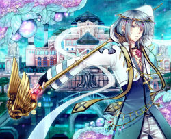 1boy, arabian architecture, archbishop (ragnarok online), bangs, berry, black gloves, blue coat, bridge, building, coat, commentary request, cowboy shot, cross, cross necklace, diadem, eyes visible through hair, fingerless gloves, flower, gem, gloves, holding, holding staff, jewelry, leaf, long sleeves, looking at viewer, male focus, necklace, pants, parted lips, purple eyes, purple flower, ragnarok online, retgra, short hair, solo, sparkle, staff, tree, two-tone coat, white coat, white hair, white pants