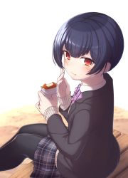 1girl, bangs, bench, black jacket, black legwear, black stripes, blazer, blue skirt, blush, bob cut, bow, bowtie, closed mouth, commentary, croquette, dress shirt, eating, food, food on face, from above, from behind, gurena, hand on own face, highres, holding, holding food, idolmaster, idolmaster shiny colors, jacket, looking at viewer, looking back, morino rinze, nail polish, on bench, pantyhose, plaid, plaid skirt, pleated skirt, purple bow, purple nails, red eyes, school uniform, shirt, short hair, sitting, skirt, striped, striped bow, striped neckwear, tan sweater, white background, white shirt, white stripes