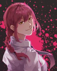 1girl, bangs, black neckwear, braid, braided ponytail, breasts, business suit, chainsaw man, collared shirt, formal, hair between eyes, highres, light smile, long hair, looking at viewer, makima (chainsaw man), medium breasts, necktie, purple hair, ringed eyes, shirt, smile, solo, suit, white shirt, x tk, yellow eyes