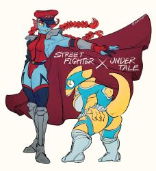 2girls, alphys, alternate costume, armored boots, ass, black legwear, blue legwear, blue skin, bodypaint, boots, braid, breasts, cammy white, cammy white (cosplay), cape, clothing cutout, colored sclera, colored skin, commentary request, cosplay, elbow cutout, eyepatch, eyeshadow, fingerless gloves, flat ass, full body, gloves, grey footwear, hat, head fins, height difference, highleg, highleg leotard, highres, knee boots, knee pads, large breasts, leotard, long braid, long hair, makeup, medium breasts, multiple girls, muscular, muscular female, nail polish, one-eyed, open mouth, peaked cap, rainbow mika, rainbow mika (cosplay), red cape, red eyeshadow, red hair, red headwear, red leotard, red nails, sharp teeth, shortstack, shoulder cutout, shoulder pads, sideboob, slit pupils, street fighter, street fighter iv (series), street fighter zero (series), tail, tail through clothes, teeth, thigh cutout, thighhighs, twin braids, undertale, undyne, vega, vega (cosplay), white background, white footwear, wrestling mask, wrestling outfit, yellow sclera, yuzuki v