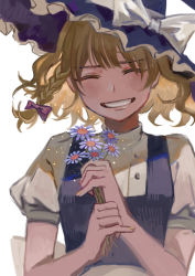 1girl, absurdres, apron, bangs, black vest, blonde hair, blush, bow, braid, dou (doudouzi), eyebrows visible through hair, eyes closed, facing viewer, fingernails, floating hair, flower, frilled hat, frills, grin, hair between eyes, hair bow, happy, hat, hat bow, head tilt, highres, holding, holding flower, kirisame marisa, light particles, nail polish, puffy short sleeves, puffy sleeves, purple bow, shirt, short hair, short sleeves, simple background, single braid, smile, solo, touhou, turtleneck, upper body, vest, waist apron, white background, white bow, white shirt, witch hat, yellow nails