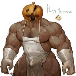 Rule 34   1boy, apron, arm hair, bara, bare legs, bare pecs, bare shoulders, beard, bulge, chest hair, facial hair, feet out of frame, gloves, gomtang, hairy, halloween, happy halloween, large pectorals, leg hair, male focus, mature male, muscular, muscular male, naked apron, nipples, original, pumpkin, short hair, solo, thick thighs, thighs, veins, white gloves