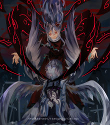 2girls, angel wings, artist name, capelet, closed mouth, collar, cross, dress, eyes closed, glowing, glowing eyes, highres, holding, holding wand, kneeling, long dress, long hair, long sleeves, looking at viewer, multiple girls, multiple wings, naufaldreamer, outstretched arms, red dress, red eyes, sariel (touhou), shinki (touhou), short hair, smile, spread arms, wand, white hair, wide sleeves, wings