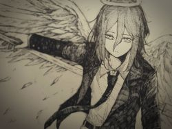 1boy, androgynous, angel devil (chainsaw man), angel wings, ate5424, belt, black jacket, black legwear, black neckwear, black pants, chainsaw man, collared shirt, eyebrows, eyelashes, feathered wings, feathers, formal, hair between eyes, halo, highres, holding, holding weapon, jacket, long hair, long sleeves, looking at viewer, male focus, monochrome, necktie, pale skin, pants, polearm, shirt, sleeves past elbows, solo, solo focus, spear, suit, weapon, white shirt, wings