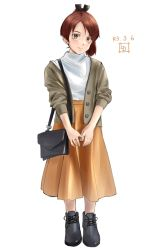 1girl, alternate costume, artist logo, bag, brown eyes, brown hair, brown jacket, commentary request, dated, full body, highres, jacket, kantai collection, ld (luna dial398), long skirt, looking at viewer, orange skirt, ponytail, shikinami (kancolle), short hair, simple background, skirt, solo, sweater, white background, white sweater