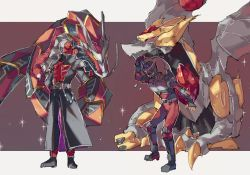 2boys, annoyed, arm behind back, arm up, armor, belt, black bodysuit, black coat, black footwear, blank eyes, bodysuit, breastplate, chikichi, claws, clenched hands, coat, crossover, crystal, dragon, dragreder, flying sweatdrops, full body, glowing, glowing eyes, gradient, gradient background, hand up, helmet, kamen rider, kamen rider ryuki, kamen rider ryuki (series), kamen rider wizard, kamen rider wizard (series), knee pads, letterboxed, long sleeves, looking at another, male focus, multiple boys, outside border, pants, red background, red eyes, red pants, shin guards, shoes, shoulder armor, simple background, sparkle, standing, trench coat, two-sided fabric, vambraces, wizardragon, yellow eyes