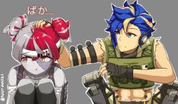 1boy, 1girl, abs, apex legends, astel leda, black gloves, blonde hair, blue hair, blush, colored skin, cosplay, cropped vest, crossover, double bun, fingerless gloves, gloves, grey hair, grey skin, greyscale, headband, heterochromia, highres, hololive, hololive indonesia, holostars, iffyru, kureiji ollie, lifeline (apex legends), lifeline (apex legends) (cosplay), mechanical legs, monochrome, multicolored hair, octane (apex legends), octane (apex legends) (cosplay), open hand, petting, red eyes, red hair, squatting, stitched face, stitches, streaked hair, symbol-shaped pupils, twitter username, two-tone hair, vest, white headband, yellow eyes, zombie