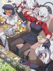 4girls, absurdres, alcohol, arm up, azazel (helltaker), bangs, bent over, black footwear, black gloves, black hair, black pants, black skirt, black vest, blunt bangs, blush, board game, boots, breasts, brown legwear, cigarette, coin, commentary request, couch, cross, cup, demon girl, demon horns, demon tail, drunk, evil grin, evil smile, eyebrows visible through hair, fangs, figure, food, frown, fruit, glasses, gloves, grin, hair between eyes, hairband, half-closed eyes, halo, hand in hair, heart, helltaker, highres, holding, holding cup, horns, ice, ice cube, kyo-hei (kyouhei), large breasts, layered sleeves, lemon, lemon slice, lime (fruit), lime slice, long sleeves, malina (helltaker), multiple girls, nail polish, open mouth, pandemonica (helltaker), pants, pantyhose, pineapple, red eyes, red nails, red shirt, shaded face, sharp teeth, shirt, short hair, short sleeves, sitting, skirt, smile, smoking, spilling, tail, teeth, vest, wavy mouth, white footwear, white hair, white hairband, white pants, white shirt, zdrada (helltaker)