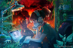 1girl, animal, artist name, california, cat, chair, chilledcow stream girl, commentary, computer, english text, fire, forest, forest fire, from side, green shirt, headphones, highres, lamp, laptop, lofi hip hop radio - beats to relax/study to, looking down, mask, mouth mask, nature, plant, ponytail, shirt, short ponytail, short sleeves, sitting, sketch, tree, watermark, web address, wenqing yan, wildfire