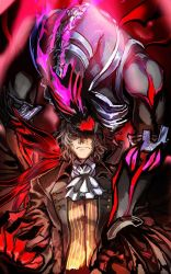 1boy, antonio salieri (fate), black suit, claws, corruption, cravat, dark persona, energy, european clothes, fangs, fate/grand order, fate (series), formal, grey hair, highres, long sleeves, looking at viewer, lying, male focus, monster, nonono nagata, on back, pinstripe pattern, pinstripe suit, red eyes, shirt, short hair, striped, striped shirt, suit