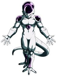 10s, 1boy, alien, black nails, colored skin, dragon ball, dragon ball fighterz, dragon ball super, frieza, full body, halo, highres, looking at viewer, muscular, nail polish, official art, red eyes, smile, solo, tail, transparent background, white skin