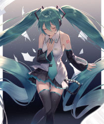 1girl, aqua hair, aqua nails, aqua neckwear, arl, arm at side, backlighting, bare shoulders, bent over, black legwear, black skirt, blurry, border, breasts, closed mouth, collared shirt, dark background, depth of field, detached sleeves, eyebrows visible through hair, eyes closed, facing viewer, feet out of frame, fingernails, floating hair, gradient, gradient background, grey background, hair between eyes, hand on own chest, hand up, happy, hatsune miku, headset, highres, knees together feet apart, light blush, light particles, light smile, long hair, nail polish, necktie, no nose, number, number tattoo, paper, pleated skirt, shiny, shiny hair, shirt, shoulder tattoo, simple background, skirt, skirt lift, sleeveless, sleeveless shirt, small breasts, solo, staff (music), standing, tattoo, thigh gap, thighhighs, twintails, very long hair, vocaloid, white border, white shirt, zettai ryouiki