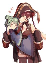 2girls, agyou, annoyed, bangs, blue dress, blush, breasts, brown eyes, carrying, detached sleeves, double bun, dress, eyebrows behind hair, eyepatch, eyes closed, green hair, hat, highres, hololive, houshou marine, looking to the side, medium breasts, multiple girls, one eye covered, pirate, pirate hat, princess carry, puckered lips, red hair, red skirt, short hair, skirt, sleeves past fingers, sleeves past wrists, thighhighs, tsundere, twintails, uruha rushia, virtual youtuber, yuri