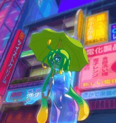 Rule 34 | 1girl, animated, animated gif, blue skin, bouncing breasts, breast expansion, breasts, city, cleavage, closed mouth, collarbone, colored skin, commentary, curvy, green eyes, green hair, groin, growth, happy, holding, holding umbrella, large breasts, monster girl, monster musume no iru nichijou, navel, nipples, nude, open mouth, outdoors, pussy, rain, slime girl, small breasts, smile, solo, standing, suu (monster musume), tentacle hair, twistedgrim, umbrella, water