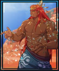 1boy, abs, alternate hair length, alternate hairstyle, artist name, bangs, bare shoulders, beard, blurry, blurry background, border, bracelet, collarbone, commentary, cowboy shot, dark skin, dark skinned male, earrings, english commentary, facial hair, fang, ganondorf, highres, jewelry, long hair, male focus, muscular, muscular male, navel, nintendo, nipples, oricalcon, outdoors, red hair, shiny, shiny skin, short pointy ears, smile, solo, the legend of zelda, the legend of zelda: breath of the wild, very long hair