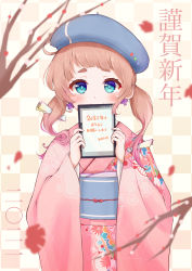 1girl, absurdres, beret, blue eyes, blush, brown hair, covering mouth, cross, cross earrings, earrings, furisode, happy new year, hat, highres, japanese clothes, jewelry, kimono, kohe billialot, looking at viewer, new year, obi, obiage, obijime, original, pink kimono, print kimono, sash, shirt, short eyebrows, short hair, smile, solo, thick eyebrows, thighhighs, upper body, white shirt