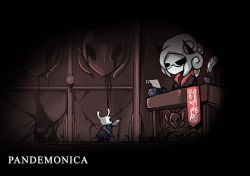1girl, 1other, artist name, black dress, black horns, book, character name, commentary, cracked wall, desk, dress, glasses, helltaker, hollow knight, horns, arthropod girl, insect wings, knight (hollow knight), looking at another, md5 mismatch, pandemonica (helltaker), parody, photoshop (medium), quill, red dress, resolution mismatch, serious, short hair, signature, source larger, style parody, sword, sword behind back, taphris, typewriter, weapon, wings