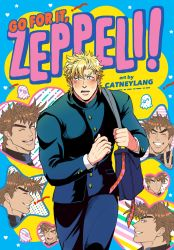 2boys, :/, alternate costume, artist name, bag, battle tendency, blonde hair, blue eyes, blush, brown hair, buttons, caesar anthonio zeppeli, catneylang, closed mouth, commentary, constricted pupils, cover, cover page, derivative work, diagonal stripes, english commentary, eyebrows, eyes closed, facial mark, facing viewer, furrowed eyebrows, gakuran, ganbare! nakamura-kun!!, green eyes, grin, heart, highres, jitome, jojo no kimyou na bouken, joseph joestar (young), laughing, long sleeves, looking at viewer, looking to the side, male focus, multicolored, multicolored stripes, multiple boys, multiple sources, multiple views, nervous, octopus, one eye closed, open mouth, pants, parody, pocket, pointing, pointing at self, polka dot, school uniform, short hair, shoulder bag, smile, star (symbol), striped, sweat, symbol commentary, thick eyebrows, v