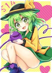 1girl, :d, ass, blouse, blush, boots, commentary request, diagonal stripes, eyeball, feet out of frame, green eyes, green hair, green skirt, hat, heart, heart of string, highres, holding, keyaki chimaki, koishi day, komeiji koishi, looking at viewer, no panties, open mouth, simple background, skirt, smile, solo, striped, third eye, touhou, yellow blouse
