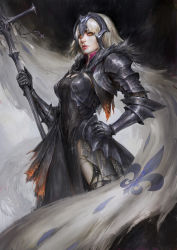 1girl, armor, armored dress, bangs, banner, black background, black dress, black legwear, blonde hair, burnt clothes, cape, chainmail, chains, commentary, cross, daniel kamarudin, dark background, dress, english commentary, eyebrows behind hair, fate/grand order, fate (series), faulds, flag, fleur de lis, fur-trimmed cape, fur collar, fur trim, gauntlets, glowing, glowing eyes, hand on hip, hand up, headpiece, highres, holding, holding staff, impossible clothes, jeanne d'arc (alter) (fate), jeanne d'arc (fate) (all), lips, looking at viewer, nose, orange eyes, parted lips, realistic, red lips, short hair, shoulder armor, silver hair, solo, spaulders, staff, standard bearer, torn clothes, torn legwear, yellow eyes
