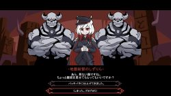 1girl, 2boys, black cape, black footwear, black neckwear, black pants, black suit, bono (8775bono), breasts, cape, closed mouth, commentary request, demon girl, demon horns, fake screenshot, gloves, half-closed eyes, helltaker, highres, horns, large breasts, long sleeves, looking at viewer, multicolored hair, multiple boys, nijisanji, own hands together, pants, parody, red eyes, red hair, shizuka rin, short hair, smile, streaked hair, style parody, translation request, vanripper (style), virtual youtuber, white gloves, white hair