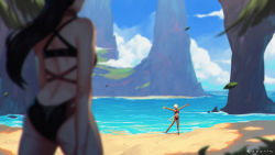 2girls, ass, beach, bikini, black bikini, black hair, blonde hair, blurry, blurry background, blurry foreground, breasts, dark skin, dark skinned female, day, elezen, elf, facing away, final fantasy, final fantasy xiv, hair over one eye, highres, hilda ware, hybrid, hyur, koyorin, leaf, long hair, looking at viewer, medium breasts, miqo'te, multiple girls, one-piece swimsuit, open mouth, outdoors, outstretched arms, pointy ears, ponytail, short hair, spread arms, swimsuit, water, wind