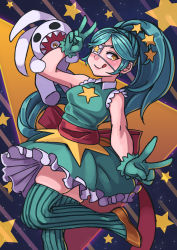 1girl, 2021, alternate hairstyle, annie (skullgirls), bare shoulders, blush, cowboy shot, double v, eyepatch, gloves, green hair, hakainoika, knee up, licking lips, official alternate costume, ponytail, ribbon, ruffled skirt, sagan (skullgirls), sash, skirt, skullgirls, star-shaped pupils, star (sky), star (symbol), starry background, symbol-shaped pupils, thighhighs, tongue, tongue out, v, yellow eyes