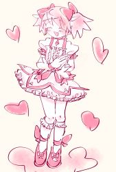 1girl, anklet, bangs, beige background, bow, choker, cloud, dress, eyes closed, frilled dress, frilled legwear, frills, full body, gloves, hair between eyes, hair bow, hands together, happy, heart, highres, jewelry, kaname madoka, kneehighs, knees together, magical girl, mahou shoujo madoka magica, necklace, open mouth, pink bow, pink footwear, pink hair, pink neckwear, pink ribbon, pink theme, puffy short sleeves, puffy sleeves, ribbon, shoes, short hair, short sleeves, short twintails, sidelocks, solo, soul gem, standing, twintails, user kmyx5247, white dress, white gloves, white legwear