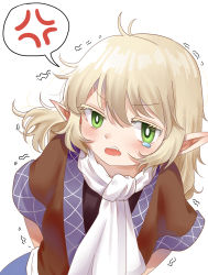 1girl, absurdres, anger vein, arms behind back, bangs, black shirt, blonde hair, brown jacket, chinese commentary, commentary request, eyebrows visible through hair, green eyes, highres, jacket, looking at viewer, medium hair, miujo, mizuhashi parsee, multicolored, multicolored clothes, multicolored jacket, open mouth, pointy ears, sash, scarf, shirt, short sleeves, simple background, solo, spoken anger vein, tearing up, touhou, trembling, upper body, white background, white sash, white scarf