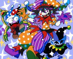:d, bangs, black hair, blue background, bow, commentary request, danganronpa (series), danganronpa v3: killing harmony, deltarune, fangs, furukawa (yomawari), gloves, hands up, hat, heart, highres, jester, jester cap, jevil, kirby (series), looking at viewer, marx, mismatched footwear, multicolored, multicolored clothes, multicolored headwear, multicolored pants, multicolored shirt, nintendo, open mouth, orange gloves, ouma kokichi, pale skin, pants, polka dot, polka dot headwear, polka dot pants, polka dot shirt, puffy short sleeves, puffy sleeves, purple gloves, purple hair, red bow, shirt, short sleeves, smile, sparkle, striped, striped headwear, striped pants