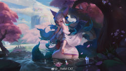 Rule 34 | 1girl, afloat, ahri, animal, animal ears, aqua hair, ass, bare shoulders, bell, neck bell, blue hair, blue sky, cherry blossoms, cloud, cloudy sky, collar, dripping, eyeshadow, facial mark, fingernails, flower, fmm cat, fox, fox ears, fox tail, fur trim, grass, hair bell, hair ornament, highres, league of legends, lily pad, long fingernails, long hair, long sleeves, looking at viewer, looking back, lotus, makeup, moss, mountain, multicolored, multicolored hair, multiple tails, nail polish, off shoulder, orange eyes, outdoors, petals, pink flower, pink nails, red collar, red lips, rock, sharp fingernails, shiny, shiny skin, sitting, sky, spirit, spirit blossom ahri, standing, tail, torii, tree, very long fingernails, water, wet, whisker markings, white hair, wide sleeves