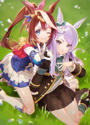 2girls, animal ears, bangs, black footwear, black jacket, black skirt, blue legwear, blush, bow, brown hair, commentary request, day, ear ribbon, eyebrows visible through hair, frilled sleeves, frills, gloves, green ribbon, hair ribbon, horse ears, horse girl, horse tail, jacket, kneebar, kneeling, long hair, mejiro mcqueen (umamusume), multicolored hair, multiple girls, on grass, one eye closed, outdoors, outstretched arm, parted lips, petals, pink ribbon, pleated skirt, ponytail, purple eyes, purple hair, ribbon, sawashi (ur-sawasi), sitting, skirt, smile, streaked hair, swept bangs, tail, tokai teio (umamusume), umamusume, v, v-shaped eyebrows, very long hair, white footwear, white gloves, white hair, white jacket, white skirt