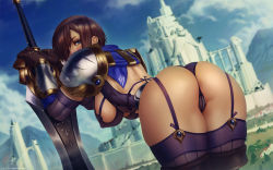 Rule 34 | 1girl, armor, artist name, ass, black gloves, blue eyes, boots, bra, breastplate, breasts, brown hair, castle, commentary, dated, erect nipples, garen crownguard, garter straps, genderswap, genderswap (mtf), gloves, highres, large breasts, league of legends, leaning forward, looking back, panties, purple bra, purple legwear, purple panties, shoulder armor, signature, solo, sword, themaestronoob, thick thighs, thigh boots, thighhighs, thighs, underwear, weapon