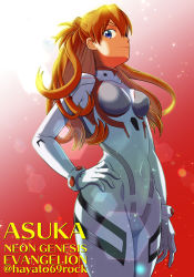 1girl, artist request, bangs, blue eyes, brown hair, curvy, evangelion: 3.0+1.0 thrice upon a time, eyepatch, hair between eyes, hair ornament, hand on hip, highres, long hair, looking at viewer, looking to the side, neon genesis evangelion, plugsuit, rebuild of evangelion, red background, shiny, shiny clothes, shiny hair, simple background, smile, solo, soryu asuka langley, standing, twitter username