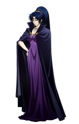 1girl, art nouveau, bad id, bad pixiv id, black hair, cape, character name, dieselburns, dress, full body, hair ornament, hands, highres, jewelry, karla (lodoss), langrisser, langrisser mobile, lipstick, lots of jewelry, makeup, necklace, official art, ponytail, pose, purple dress, record of lodoss war, witch