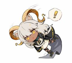 !, 1girl, animal ears, arknights, beeswax (arknights), black footwear, black jacket, chibi, commentary, dark-skinned female, dark skin, dress, falling, full body, goat ears, goat girl, goat horns, horns, jacket, medium hair, motion lines, open clothes, open jacket, open mouth, simple background, solo, spacelongcat, speech bubble, spoken exclamation mark, tripping, white background, white dress, white hair, yellow eyes