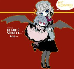 2girls, :>, :<, alternate costume, apron, bat wings, black bow, black dress, black footwear, blue eyes, bow, braid, carrying under arm, character name, commentary request, dress, earrings, english text, frilled bow, frills, full body, gendou pose, grey hair, hair bow, hands clasped, high heels, izayoi sakuya, jewelry, long sleeves, maid headdress, medium hair, multiple girls, no hat, no headwear, own hands together, pantyhose, pink dress, pointy ears, purple bow, purple neckwear, red background, red eyes, remilia scarlet, shoes, smile, sparkle, touhou, twin braids, waist apron, wings, yt (wai-tei)