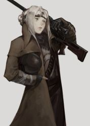 1girl, bangs, belt, black gloves, blood, brown coat, closed mouth, coat, commentary, fallout (series), fallout new vegas, fingerless gloves, gloves, goggles, goggles on head, grey eyes, gun, hand in pocket, headwear removed, helmet, helmet removed, holding, holding gun, holding weapon, katorius, lips, long hair, long sleeves, looking up, open clothes, open coat, original, parted bangs, rifle, scope, silver hair, sniper rifle, solo, standing, weapon