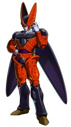 1boy, black nails, cell (dragon ball), closed mouth, colored skin, commentary request, dragon ball, dragon ball fighterz, dragonball z, embers, full body, grey skin, hand up, highres, male focus, muscular, nail polish, naomi (nplusn), official art, outstretched hand, pink eyes, recolor, recolored, solo, transparent background, watermark, wings