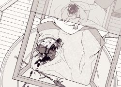 2boys, arm guards, arm tattoo, armor, bed, bed sheet, blood, blood from mouth, blood stain, bloody clothes, boots, carpet, closed mouth, cuts, eyes closed, fetal position, footprints, from above, genshin impact, gloves, greyscale, injury, lying, male focus, mask, monochrome, multiple boys, on bed, on side, polearm, short hair with long locks, single bare shoulder, sitting, sleeping, spear, tattoo, weapon, wooden floor, xiao (genshin impact), you dr 0, zhongli (genshin impact)