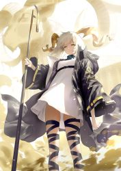 1girl, animal ears, arknights, beeswax (arknights), black coat, black collar, black ribbon, breasts, coat, collar, commentary, cowboy shot, dark skin, dark skinned female, dress, eyebrows visible through hair, goat, goat ears, goat horns, highres, holding, holding staff, horns, leg ribbon, looking at viewer, medium breasts, medium hair, open clothes, open coat, ribbon, simple background, solo, staff, strap, thighs, wasabi60, white background, white dress, white hair, wide sleeves, yellow eyes